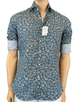 Camicia Collo francese Multicolor Popeline lavato