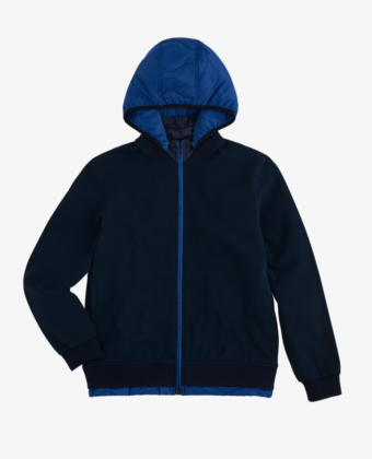 SUN68 – BOMBER NYLON DOUBLE HOOD COTTON FL NAVY BLUE